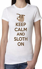 Women's Keep Calm and Sloth On T-Shirt Funny Internet Meme Shirt For Girls