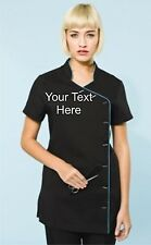 NEW Personalised Embroidered Short Sleeve Tunic For Beauty Salon Spa Etc.