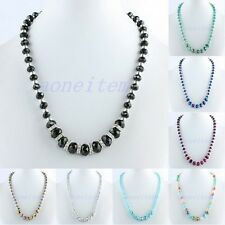 "Faceted AB Crystal Glass Rhinestone GEM Beads Chain Choker Necklace Jewelry 19""L"