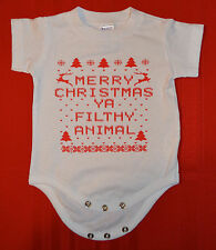 Merry Christmas Ya Filthy Animal Baby T Shirt Creeper  WHITE 6M 12M 18M 24M
