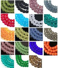 50 Czech Frosted Sea Glass Round Beads - Matte 6mm -  choose color