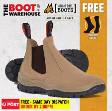 Mongrel 240040, Work Boots. Steel Toe Safety. Wheat. Elastic Sided. Brand New!