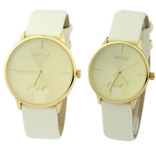 Trendy Mickey Mouse Face Couple Watches Men Women Lovers Gift Leather Band 53011