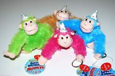Just for Laughs Singing Happy Birthday Monkey Keychain Pink Blue Green Brown 795