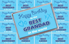 BLUE HAPPY BIRTHDAY TO GRANDAD, DAD, BROTHER, UNCLE ... RECTANGLE FRIDGE MAGNET