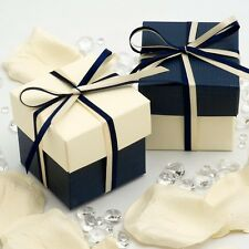 NAVY BLUE AND IVORY SQUARE BOX AND LID WEDDING FAVOUR BOXES - CHOOSE QUANTITY