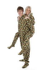 ADULT NEW Fleece Onesies Footed &Hooded Pyjamas Army Camouflage sz XS,S,M,L