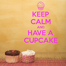 KEEP CALM AND HAVE A CUPCAKE VINYL WALL ART ROOM STICKER DECAL QUOTE