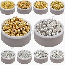 Gold & Silver Plated Alloy Space Loose Beads Charms Accessories 3 4 5 6 8 mm