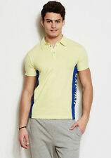 Armani Exchange AX men sunny lime and blue side logo polo short sleeve T-shirt