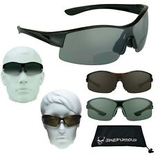 Bifocal Sunglasses Sun Readers Smoke Tint  Large Wide Motorcycle Cycling Sports