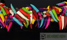 Mix Howlite Turquoise Stick Animal Tooth Shape Loose Spacer Beads 16'' Strand