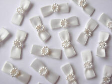 40 LOVELY SATIN BOWS WITH PEARL DETAIL 26MM WIDE