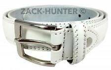"MENS WHITE LEATHER BELTS WHITE TROUSER BELTS MENS 1"" BELTS WAIST 32'' TO 48''"
