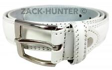 """MENS WHITE LEATHER BELTS WHITE TROUSER BELTS MENS 1"""" BELTS WAIST 32'' TO 48''"""