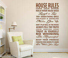 'Family House Rules' Wall Art Quotes Vinyl Wall Sticker, DIY Wall Transfer Decal
