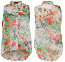 New Womens Plus Size Floral Sleeveless Collared Button Up Blouse Shirt Top