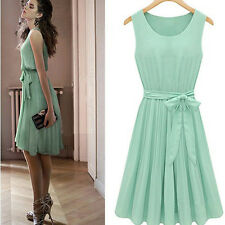 2013 Summer New Nice Girl Sleeveless Pleated Chiffon Vest Dress Skirt Aqua Solid