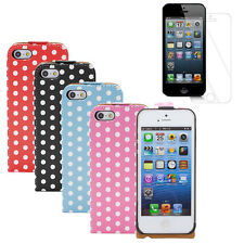 2in1 Fosmon Polka Dot Leather Flip Cover Case Cover for Apple iPhone SE 5S 5