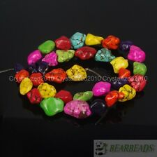 Mix Howlite Turquoise Gemstone 8x12mm 13x18mm Freeformed Nugget Loose Bead 16''