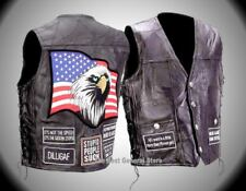Mens Black Leather Concealed Weapon Motorcycle Vest with 8 Biker Patches