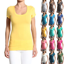 MOGAN Casual Plain Scoop-Neck Short Sleeve T-Shirts Stretch Cotton Basic Top