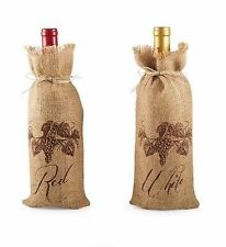 "Mud Pie Grape Vine ""Red"" or ""White"" Vintage Burlap Wine Bottle Gift Bags 151628"