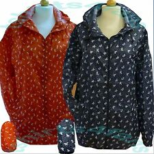 New Ladies Lightweight Patterned Kagoul Rain Coat Jacket Mac Kagool Cagoule S-XL