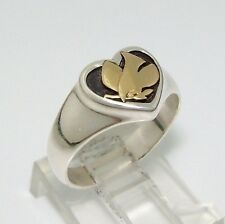 James Avery Retired Peace Dove Heart Sterling Silver 14K Yellow Gold Ring