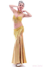 Belly Dance Costume 4 Pieces Bra&Belt&Skirt&Necklace 34B/C 36B/C 38B/C 2 colours