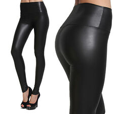 MOGAN High Waisted Faux LEATHER Stretch LEGGINGS