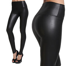 MOGAN High Waisted Faux LEATHER Stretch LEGGINGS Jeggings Skinny Pants Tights