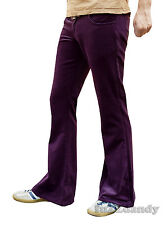 FLARES Red Purple mens bell bottoms Thick Cords hippy vtg indie trousers 60s 70s