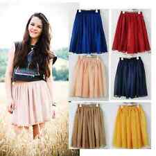 Latest Retro High Pleated Double Layer Chiffon Elastic Mini Short Skirt Dress UK