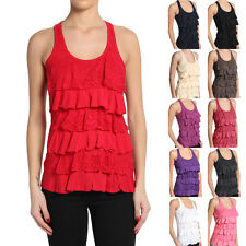 MOGAN Casual Solid Lace Tiered RACER BACK RUFFLE TANK TOP Cozy Sleeveless TEE