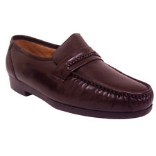 Climate X 21592 2 Mens Burgundy Leather Slip On Dress Moccasin Shoes WIDE