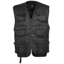 GILET REPORTER 14 POCHES NOIR SECURITE RANDONNEE OUTDOOR CHASSE PECHE NATURE