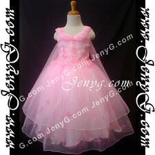 #PB01 Flower Girl/Holiday/Party/Formal/Communions Gown Dresses Pink 3-14 Years