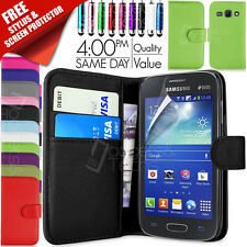 FLIP WALLET LEATHER CASE COVER FITS SAMSUNG GALAXY ACE 3 S7272 FREE SCREEN GUARD