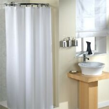 Extra Wide Long Drop Shower Curtain Plain White 100% Polyester Bathroom 12 Hooks