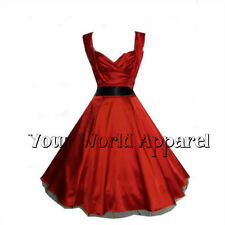 BEAUTIFUL H&R LONDON RED SATIN PARTY 1950's EVENING DRESS VINTAGE MARILYN PROM