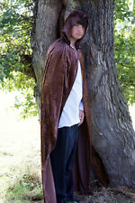 Halloween-Medieval-LARP-PAGAN-SCA-GOTHIC-STEAMPUNK BROWN HOODED CLOAK 2 sizes