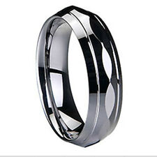 6mm Sparkling  Faceted Tungsten Carbide Ring Wedding Band