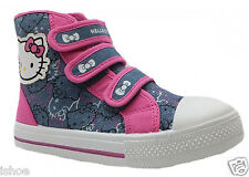 KIDS GIRLS HELLO KITTY DENIM PINK HI TOP VELCRO TRAINERS SHOES BOOTS SIZES 8-1