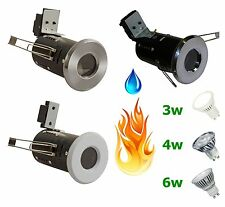 6 x LED Fire Rated Downlight IP65 GU10 Shower Recessed Light 3W 4W 6W Zone 1 2 3
