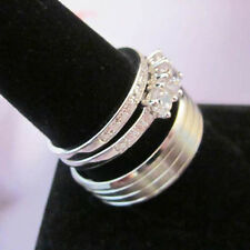 HIS Titanium 3 Stripes Satin & HER SILVER 925 Italian Accented CZ 2 Ring Sz 5-13