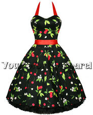 H&R LONDON BLACK WITH CHERRIES AND BLOSSOMS PINUP ROCKABILLY GOTH SWING JIVE SUN
