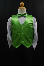 Baby Boys Toddler & Big Kids LIME GREEN VEST + BOW TIE Suits & Tuxedo Sz S - 28