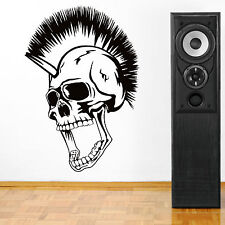 SKULL WITH MOHICAN vinyl wall art decal sticker boys room