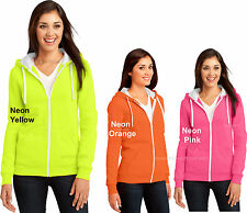 Ladies Full Zip NEON Hoodie Hooded Sweatshirt Hoody Juniors Women Sizes XS-2XL